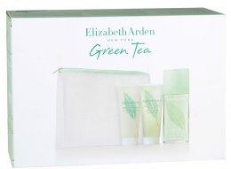 Парфюми, Парфюмерия, козметика Elizabeth Arden Green Tea - Комплект с бяла козметична чанта (edt 100 + b/l 100 + sh/g 100 + Bag)