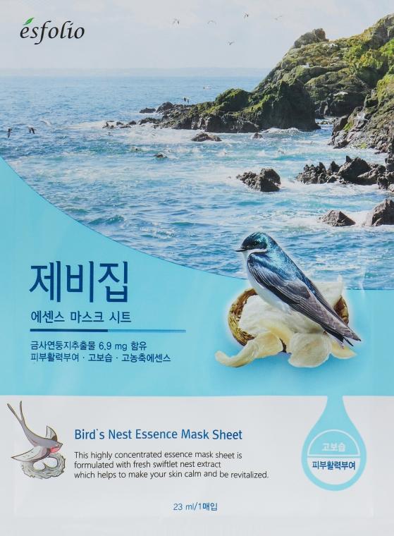 Памучна маска за лице с екстракт от лястовиче гнездо - Esfolio Bird's Nest Essence Mask Sheet