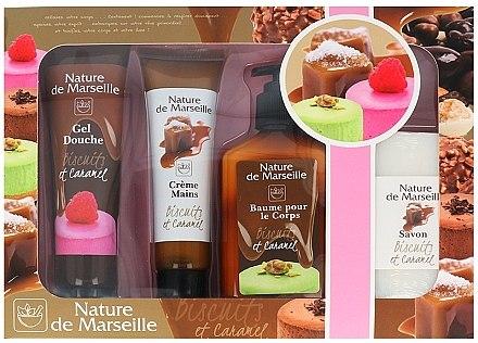 Комплект - Nature de Marseille Caramel (душ гел/100ml + крем за ръце/60ml + балсам за тяло/150ml + сапун/90g) — снимка N1