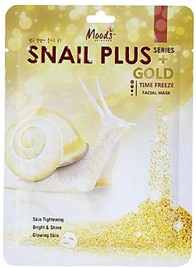 Памучна маска за лице - Moods Snail Plus Gold Facial Mask — снимка N1