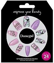 Парфюмерия и Козметика Комплект изкуствени нокти, розово с геометрия - Donegal Express Your Beauty