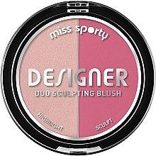 Парфюми, Парфюмерия, козметика Руж и хайлайтър за лице - Miss Sporty Draping Designer Duo Sculpting Blush