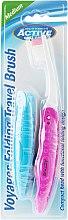 Парфюмерия и Козметика Сгъваема четка за зъби, розова - Beauty Formulas Voyager Active Folding Dustproof Travel Toothbrush Medium
