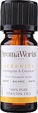 Парфюмерия и Козметика Етерично масло от лимонова трева и здравец - AromaWorks Serenity Essential Oil