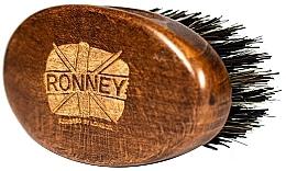 Парфюмерия и Козметика Дървена четка за брада с натурален косъм, тъмна - Ronney Professional Barber Small Brush
