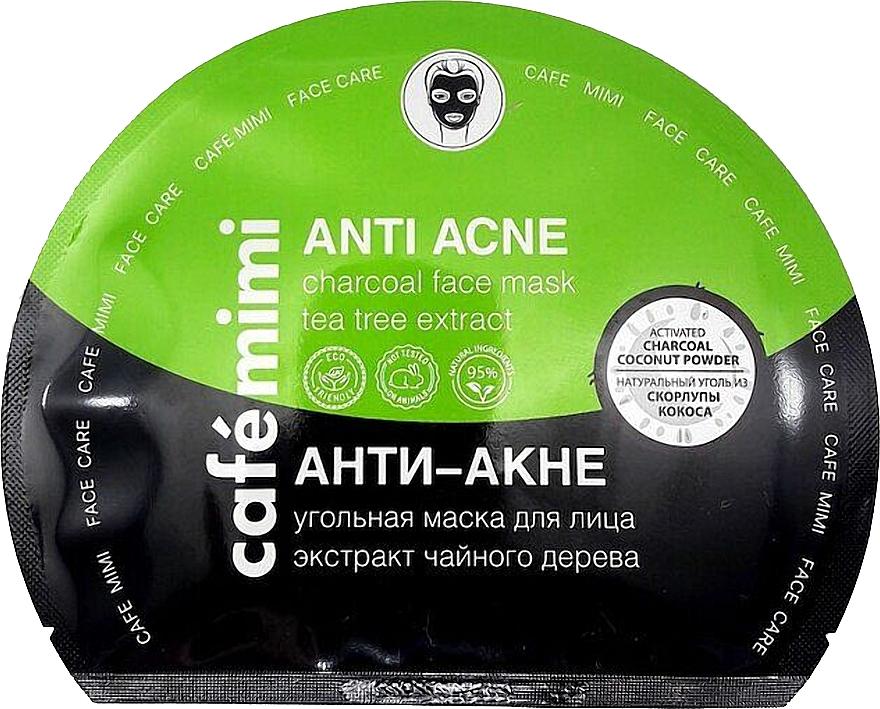"""Памучна маска за лице с въглен """"Анти акне"""" - Cafe Mimi Anti Acne Charcoal Face Mask Tea Tree Extract — снимка N1"""
