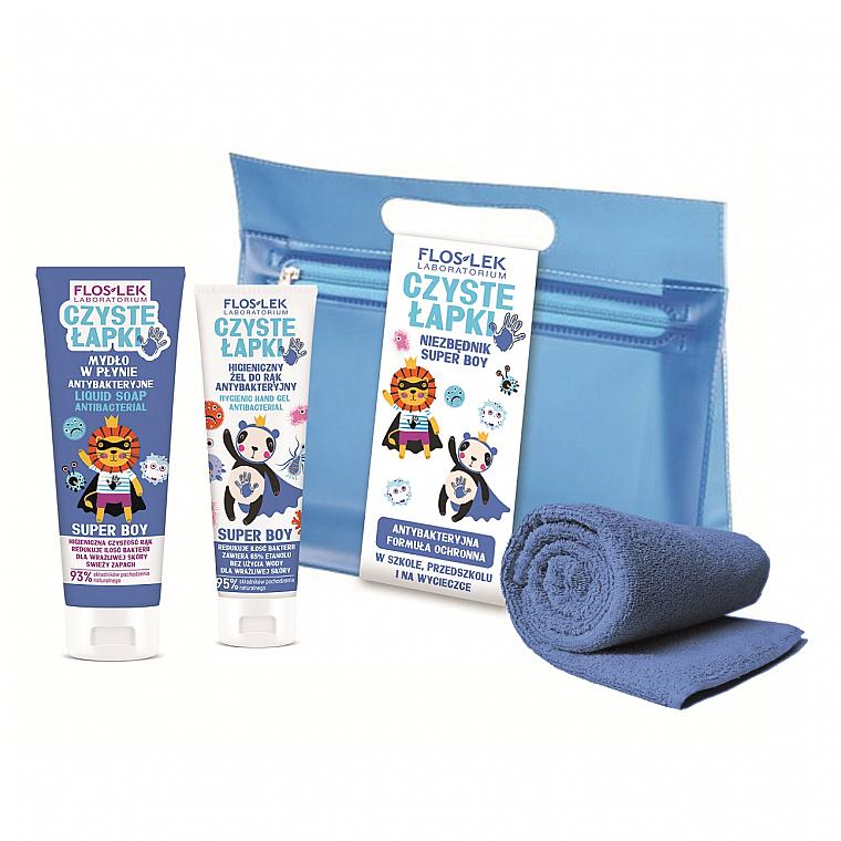 Комплект за ръце - Floslek Super Boy Antibacterial Hygienic Hand (антибак. гел/50ml + сапун/75ml + несесер + кърпа) — снимка N1