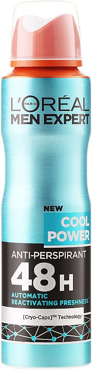 Дезодорант-антиперспирант за мъже - L'Oreal Paris Men Expert Cool Power Deodorant Spray