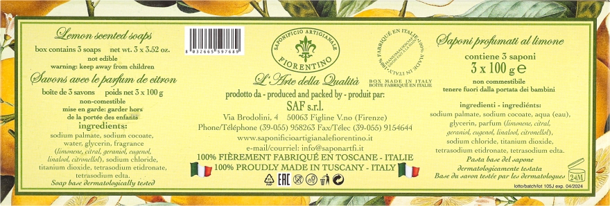 Комплект сапуни с аромат на лимон - Saponificio Artigianale Fiorentino Lemon Soap — снимка N3