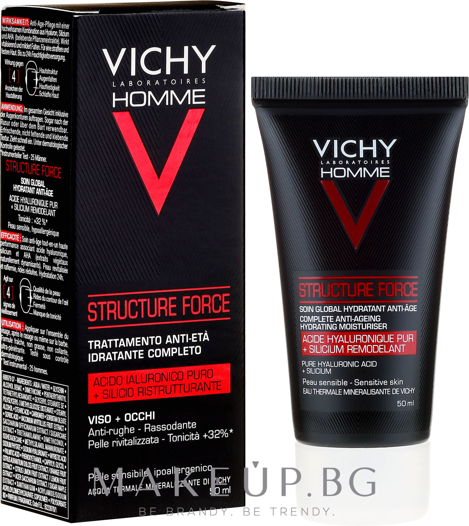 Флуид за лице - Vichy Homme Structure Force Complete Anti-ageing Hydrating Moisturiser — снимка 50 ml