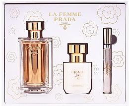 Парфюми, Парфюмерия, козметика Prada La Femme Prada - Комплект (парф. вода/100ml + лосион за тяло/100ml + парф. вода/мини/10ml)