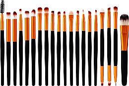 Парфюмерия и Козметика Комплект професионални четки за грим, 20 бр., черно-златисти - Lewer