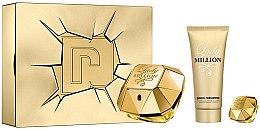 Парфюми, Парфюмерия, козметика Paco Rabanne Lady Million - Комплект (парф. вода/80ml + парф. вода/5ml + лосион за тяло/100ml)