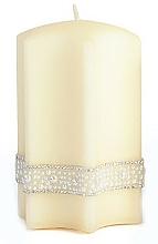 Парфюмерия и Козметика Декоративна свещ, кремава, 9x18 см - Artman Crystal Pearl Star