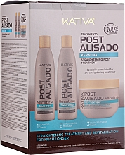 Парфюмерия и Козметика Комплект шампоан, балсам и маска - Kativa Straightening Post Treatment Keratin (shm/250ml + cond/250ml + mask/250ml)