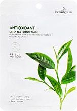 Парфюмерия и Козметика Памучна маска с екстракт от зелен чай - Beauugreen Antioxidant Green Tea Essence Mask