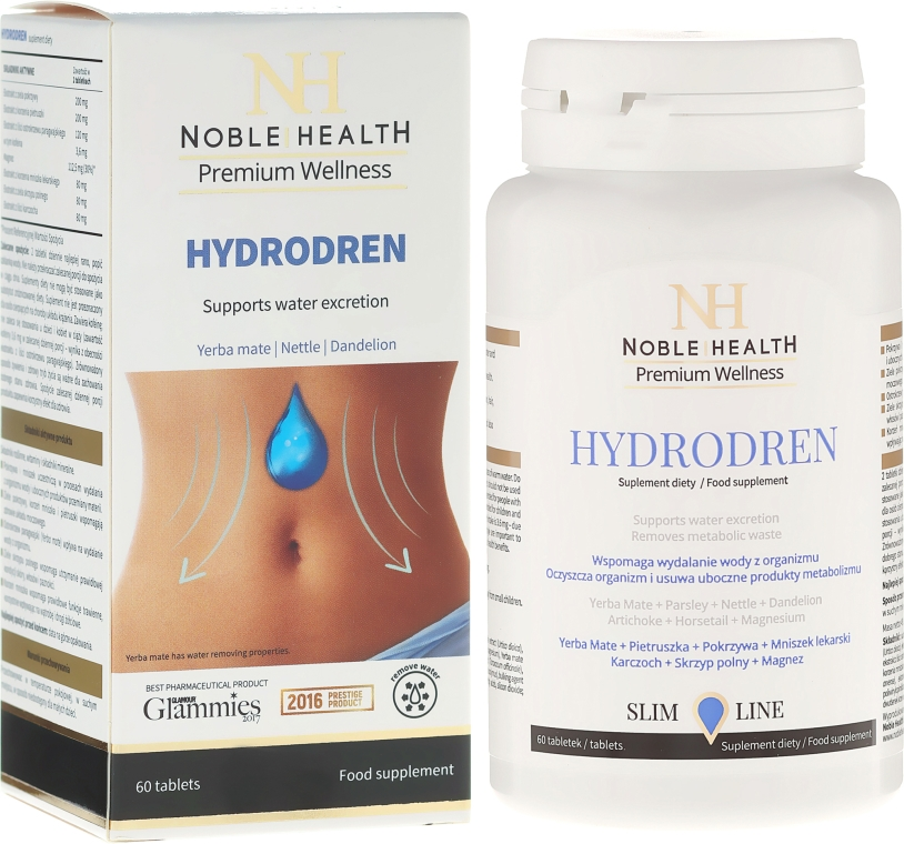 Хранителна добавка за дрениране на излишната вода от тялото - Noble Health Slim Line Hydrodren