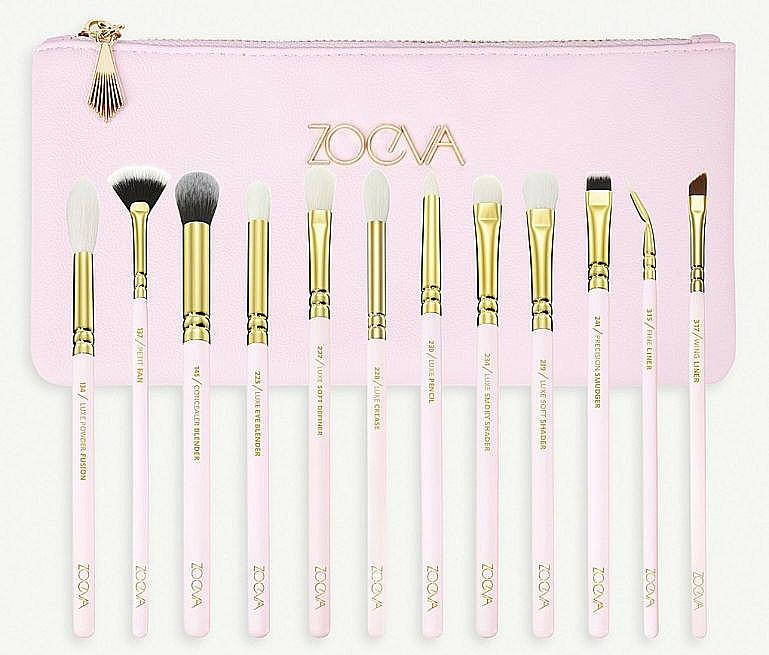 Комплект четки за грим с несесер - Zoeva Screen Queen Complete Eye Brush Set (12 brushes + clutch) — снимка N1
