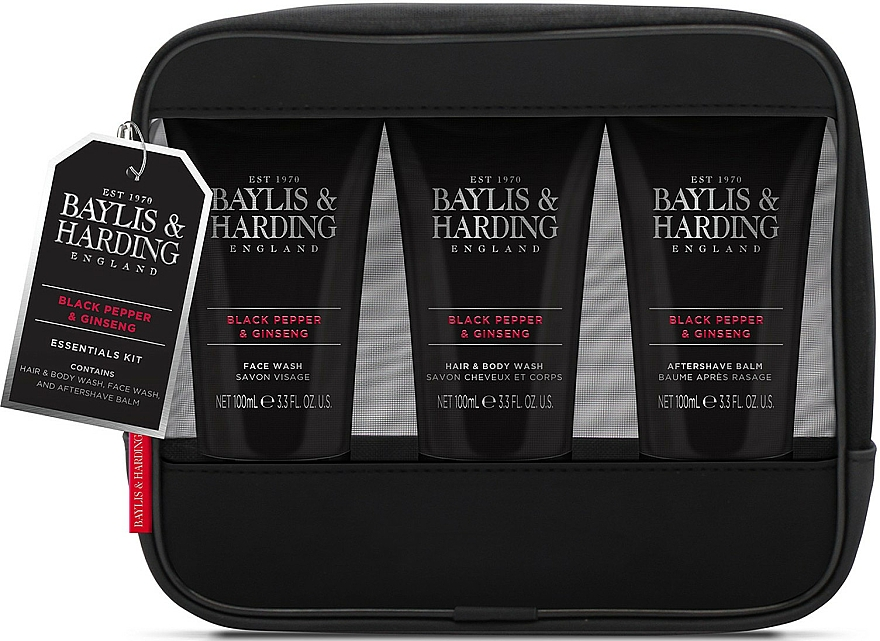 Комплект за мъже - Baylis & Harding Signature Men's Black Pepper & Ginseng Toiletry Bag (hair/body/wash/100ml+a/sh/balm/100ml+face/wash/100ml+acc) — снимка N1