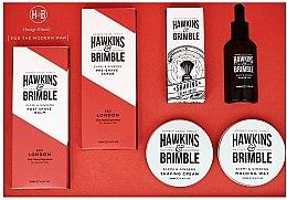 Парфюми, Парфюмерия, козметика Комплект - Hawkins & Brimble Set (scr/125ml+asb/125ml+br/oil/50ml+sh/cr/100ml+wax/100ml+sh/brush)