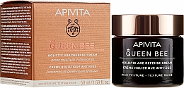 Парфюмерия и Козметика Богат крем за лице с защитен комплекс против стареене - Apivita Queen Bee Holistic Age Defence Cream Rich Texture