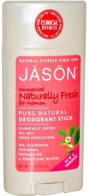Натурален дезодорант стик, без аромат - Jason Natural Cosmetics Pure Natural Deodorant Stick Unscented — снимка N1