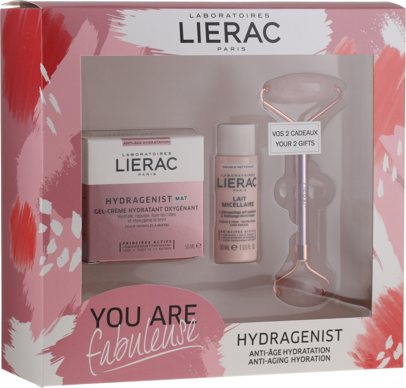 Хидратиращ комплект за лице - Lierac Hydragenist (крем/50ml + мляко/30ml + масажор/1бр)