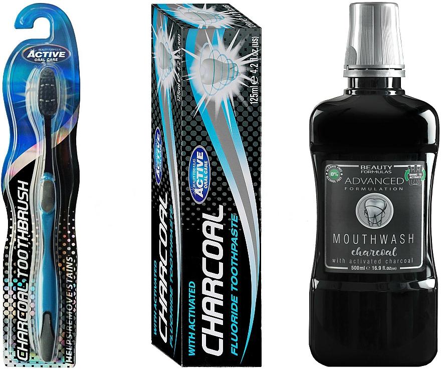 Комплект за зъби - Beauty Formulas Charcoal (вода за уста/500ml + четка/1бр. + паста/125g) — снимка N1