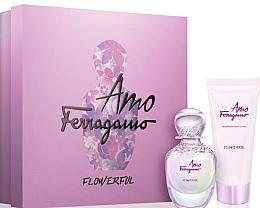 Парфюмерия и Козметика Salvatore Ferragamo Amo Ferragamo Flowerful - Комплект (тоал. вода/50ml +лосион за тяло/100ml)