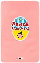 Парфюмерия и Козметика Памучна маска за лице с екстракт от праскова и йогурт - A'Pieu Peach & Yogurt Sheet Mask