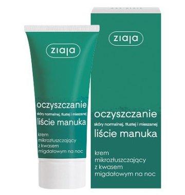 Почистващ нощен крем за лице с екстракт от листа от манука и бадемова киселина - Ziaja Purifying Exfoliating Manuka Tree Night Cream