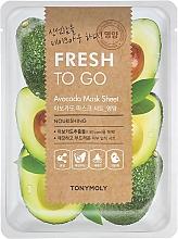 Парфюмерия и Козметика Памучна маска за лице с екстракт от авокадо - Tony Moly Fresh To Go Avocado Mask Sheet Nourishing