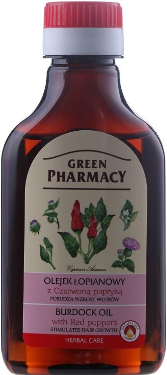 Масло от репей с червен пипер за растеж на косата - Green Pharmacy