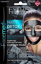 Парфюми, Парфюмерия, козметика Почистваща и матираща маска с въглен - Eveline Cosmetics Facemed+ Matt Detox Mask