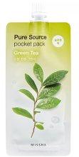 Парфюмерия и Козметика Нощна маска за лице със зелен чай - Missha Pure Source Pocket Pack Green Tea