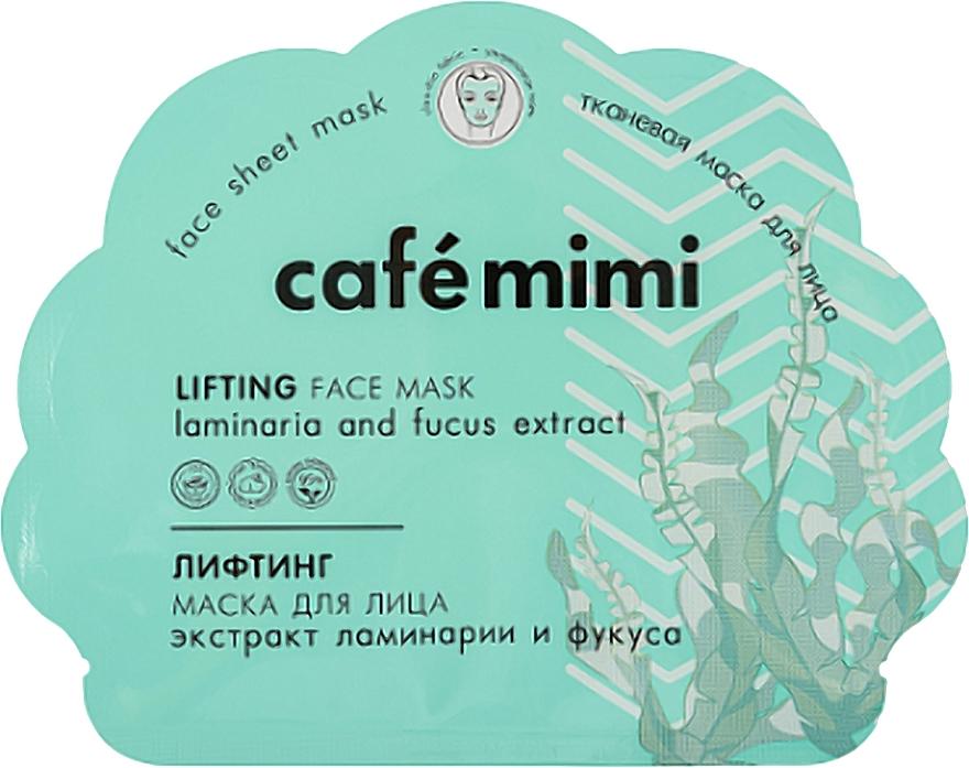 Памучна лифтинг маска за лице - Cafe Mimi Lifting Fase Mask Laminaria and Fucus Extract — снимка N1