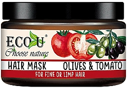 Парфюмерия и Козметика Маска за тънка коса с екстракт от домат и маслина - Eco U Mask For Fine Hair