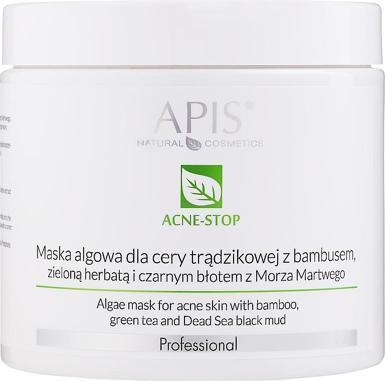 Маска от водорасли с бамбук, зелен чай и черна кал от Мъртво море - APIS Professional Algae Mask For Acne Skin