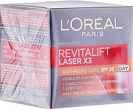 Парфюмерия и Козметика Дневен крем за лице - L'Oreal Paris Revitalift Laser X3 Anti-Age SPF 20