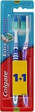 """Парфюмерия и Козметика Комплект четки за зъби """"Extra Clean"""", средна твърдост, синя и лилава - Colgate Extra Clean Medium"""