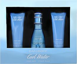 Парфюмерия и Козметика Davidoff Cool Water Woman - Комплект (тоал. вода/50ml + лосион/50ml + душ гел/50ml)