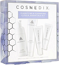 Парфюмерия и Козметика Комплект за лице - Cosmedix Clarifying & Cleansing 4-Piece Essentials Kit (почистващо средство/60ml + серум/15ml + маска/30g + крем/15ml)