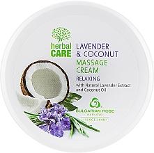 Парфюмерия и Козметика Масажен крем с релаксиращ ефект - Bulgarian Rose Herbal Care Lavender & Cococnut Massage Cream
