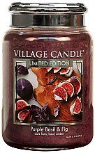 Парфюми, Парфюмерия, козметика Ароматна свещ в бурканче - Village Candle Purple Basil & Fig Glass Jar