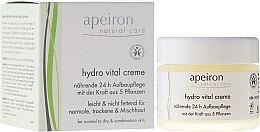 """Парфюмерия и Козметика Крем за лице """"Подхранване и регенерация за 24 часа"""" - Apeiron Hydro Vital 24h Nourishing&Regenerating Cream"""