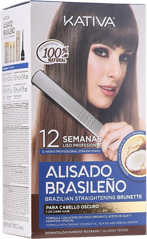Комплект за кератиново изправяне на косата, за брюнетки - Kativa Alisado Brasileno Straighten Brunette (шамп./15ml + маска/150ml + шамп./30ml + балс./30ml + четка/1бр. + ръкавици/1 бр.)