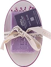 Парфюмерия и Козметика Сапун с ароматна лавандула, с керамична сапунерка - Le Chatelard 1802 Lavender Soap
