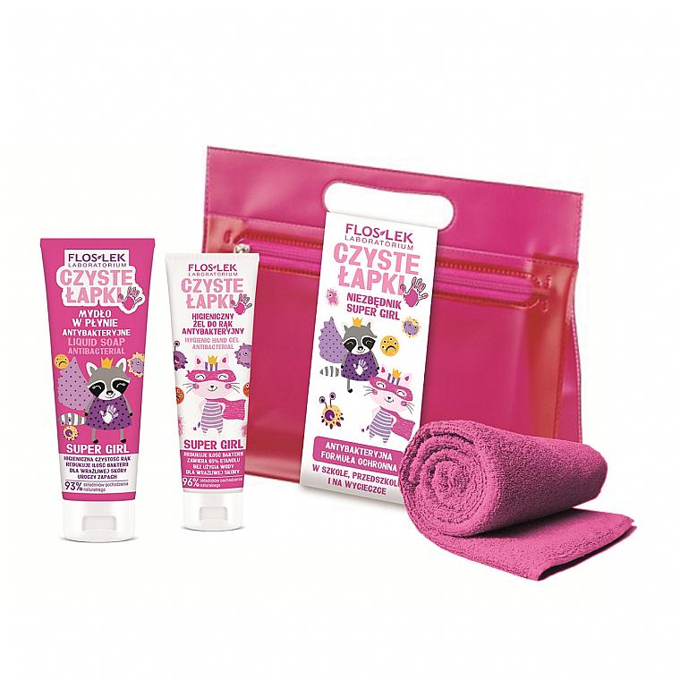 Комплект за ръце - Floslek Super Girl Antibacterial Hygienic Hand (антибак.гел/50ml + сапун/75ml + несесер + кърпа) — снимка N1