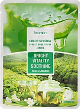 Парфюми, Парфюмерия, козметика Памучна маска за лице с екстракт от алое и зелен чай - Deoproce Color Synergy Effect Sheet Mask Green