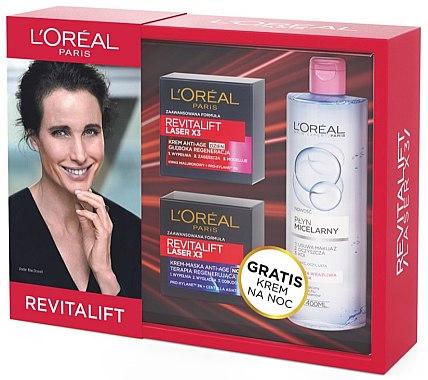 Комплект - L'Oreal Paris Revitalift Lazer Х3 (дневен крем/50ml + нощна крем-маска/50ml + мицел. вода/400ml)